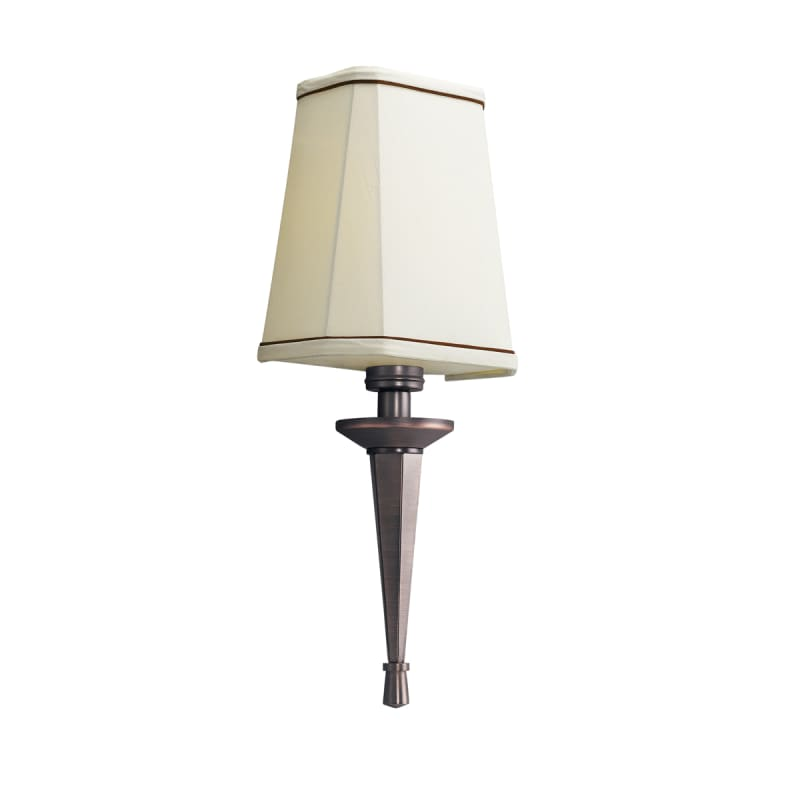 Kichler 10656RBZ Royal Bronze 1 Light Wall Sconce with Linen Shade with Brown Accent Trim from ...