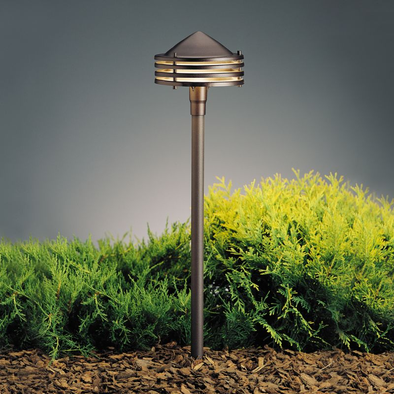 Kichler 15318azt textured architectural bronze galaxy 24 for Low voltage walkway lighting sets