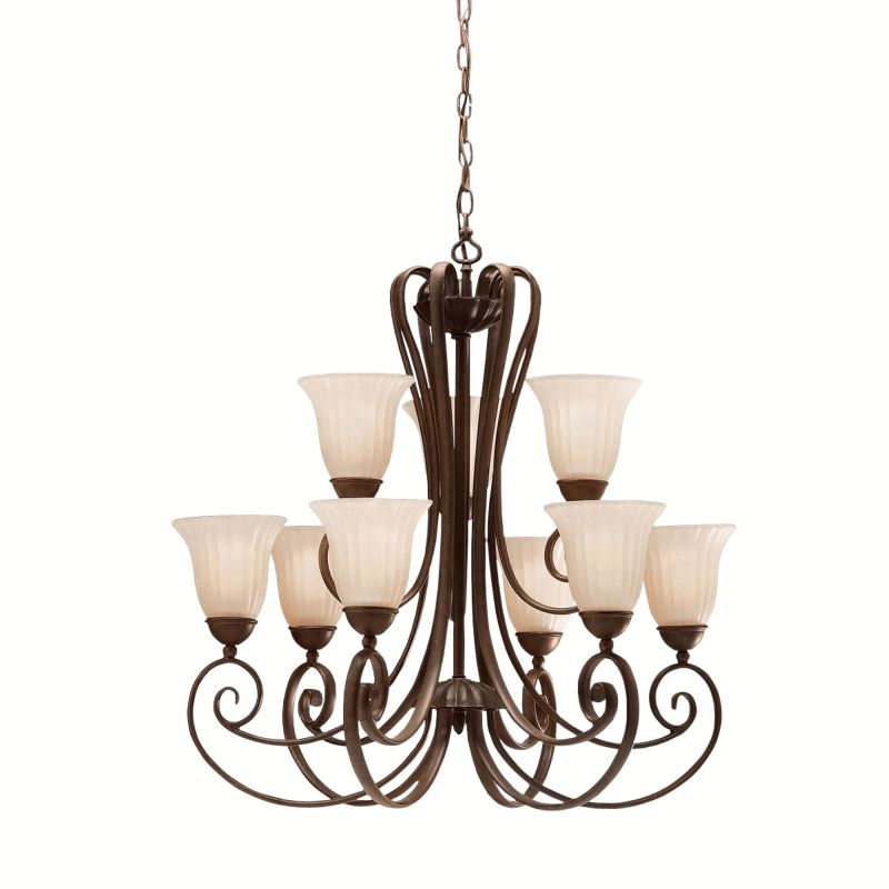 "Kichler 1828 Willowmore 2-Tier Chandelier with 9 Lights - 72"" Chain"