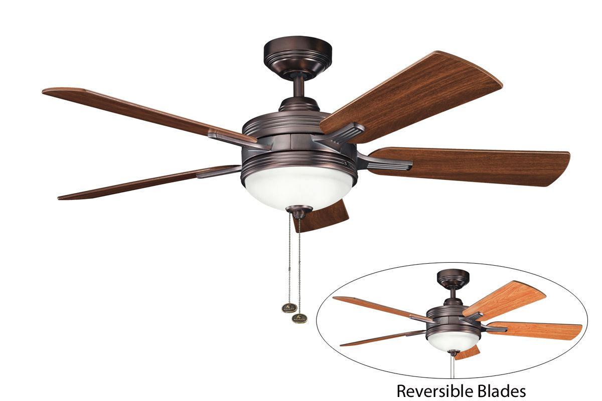 "Kichler 300148OBB 52"" Indoor Ceiling Fan with Blades Light Kit"