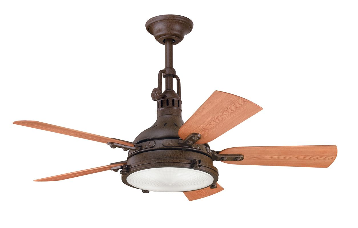 Kichler 310101tzp tannery bronze powder coat 44 outdoor for Cool ceiling fans with lights