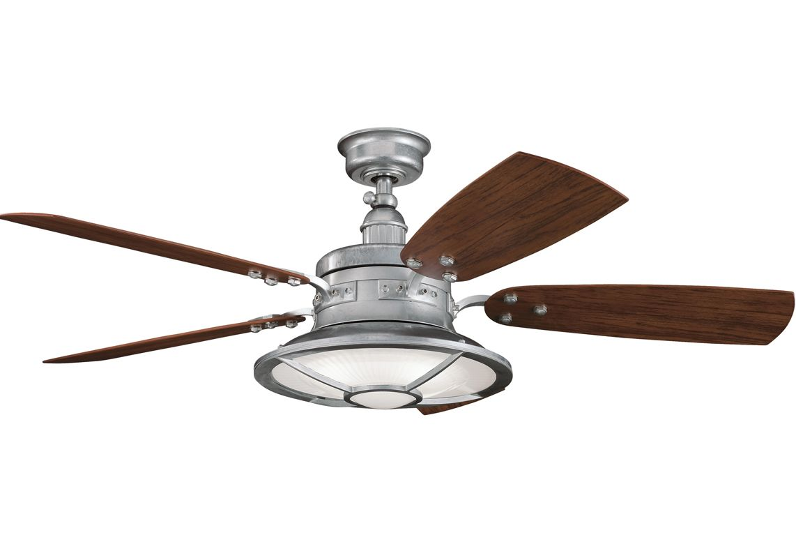 Kichler 310102gst Galvanized Steel Harbour Walk Patio 52 Outdoor Ceiling Fan With 5 Blades