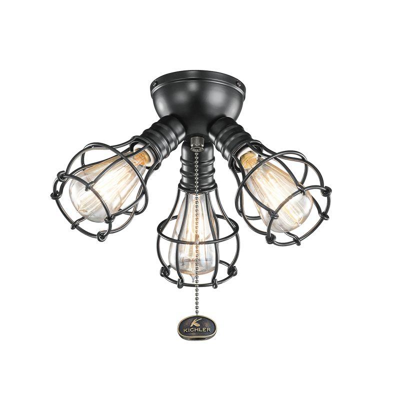 Kichler 370041 3 Light Kit for Ceiling Fan Satin Black Fan Accessories