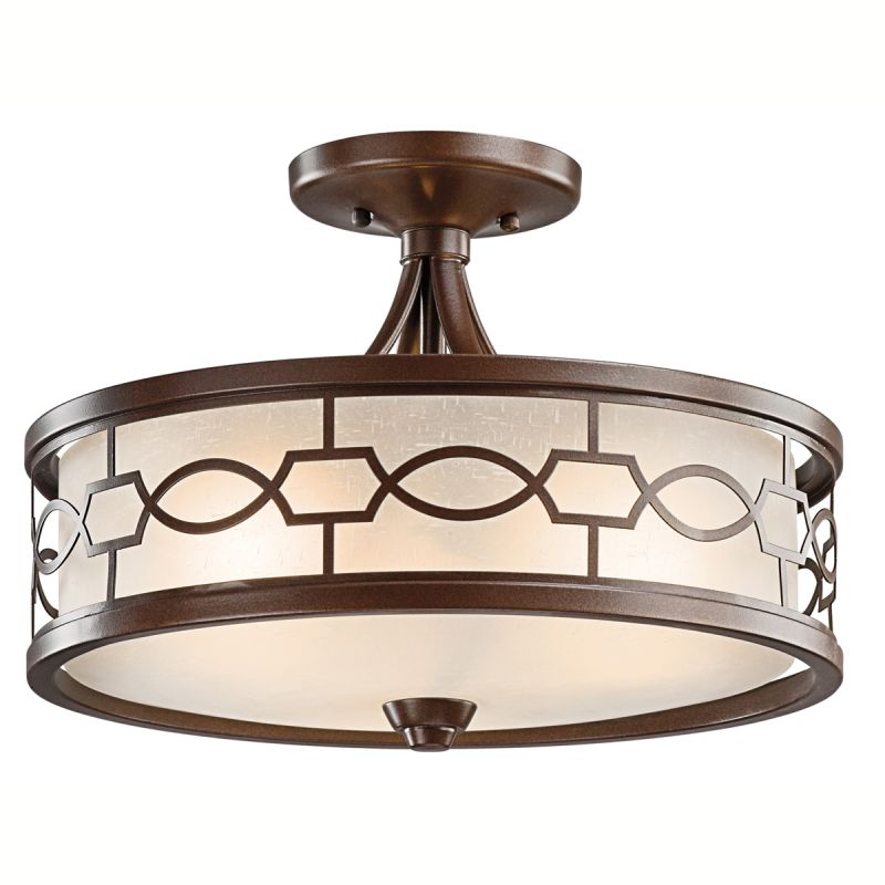 mission bronze punctuation 3 light semi flush indoor ceiling fixture