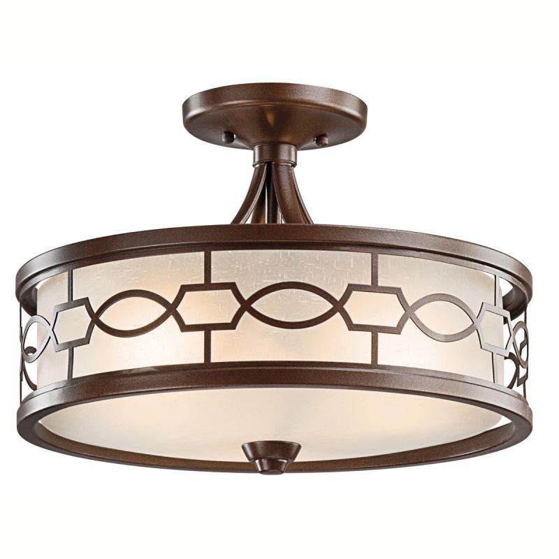 mission bronze punctuation 3 light semi flush indoor ceiling fixture