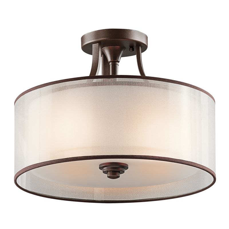 mission bronze lacey 3 light semi flush indoor ceiling fixture
