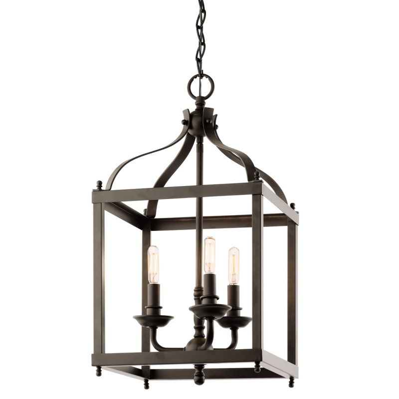 "Kichler 42566 Larkin 3 Light 12"" Wide Pendant with Metal Cage Frame"