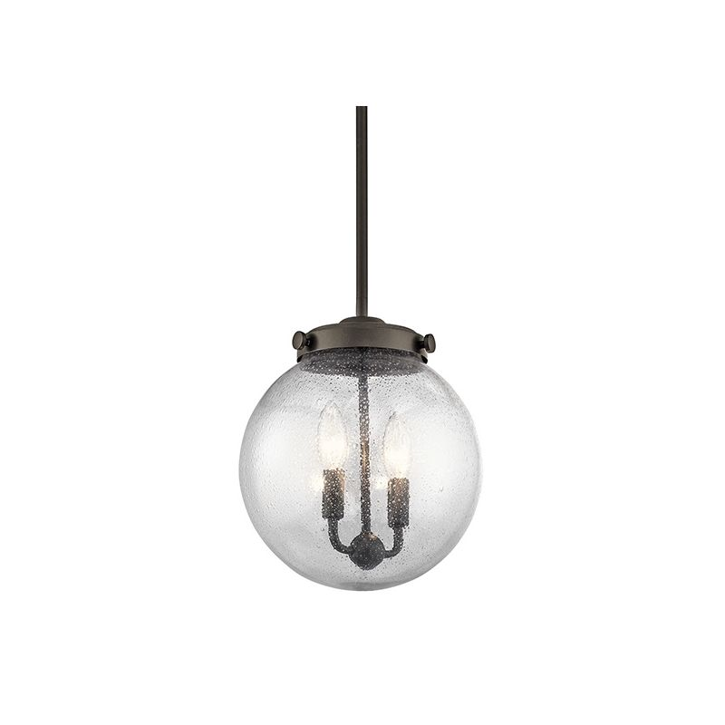 Kichler 42588 Holbrook Mini Pendant with Round Seedy Glass Shade Olde