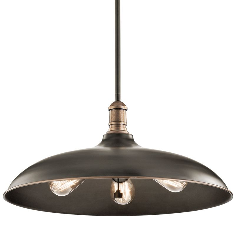 """Kichler 42649 Cobson 3 Light 20"""" Wide Pendant with Metal Shade Olde"""
