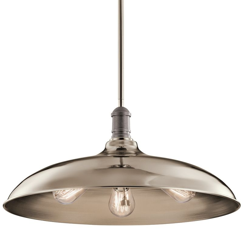 """Kichler 42649 Cobson 3 Light 20"""" Wide Pendant with Metal Shade"""
