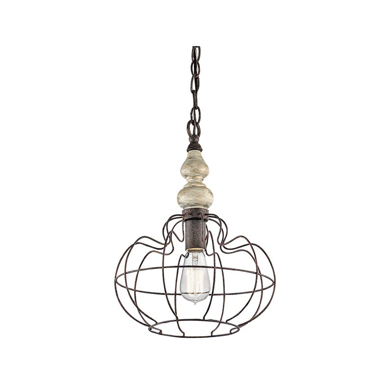 Kichler 42844 Getseto Pendant Light with Wire Frame Shade Distressed