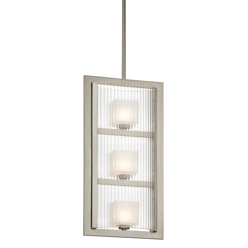 Kichler 43140 Rigate 3-Bulb Indoor Pendant with Rectangular Glass