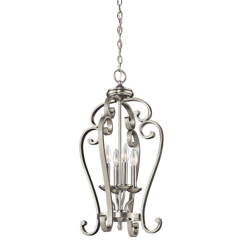 "Kichler 43165 Monroe Foyer Chandelier with 4 Lights - 15"" Wide Brushed"