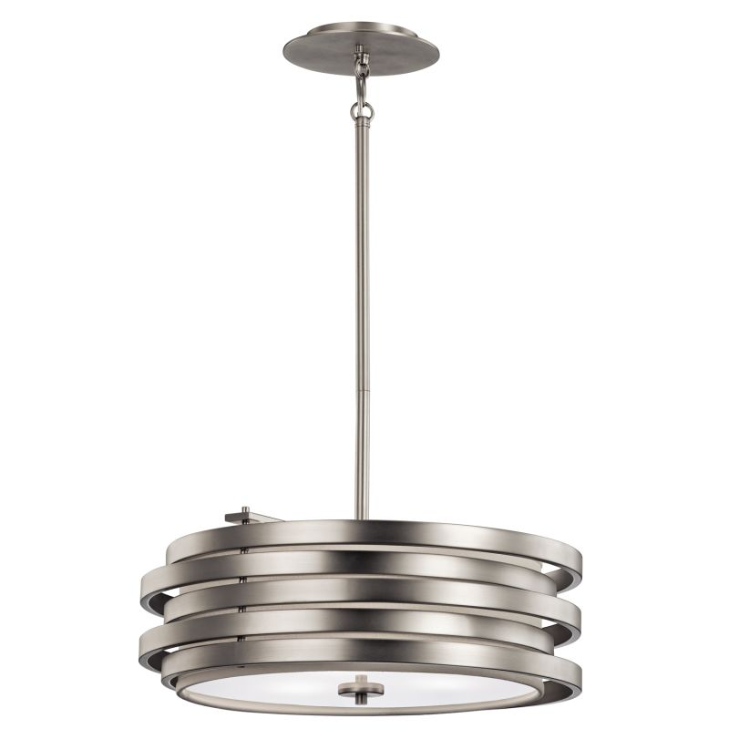 Kichler 43301 Roswell 3-Bulb Indoor Pendant with Round Metal Shade