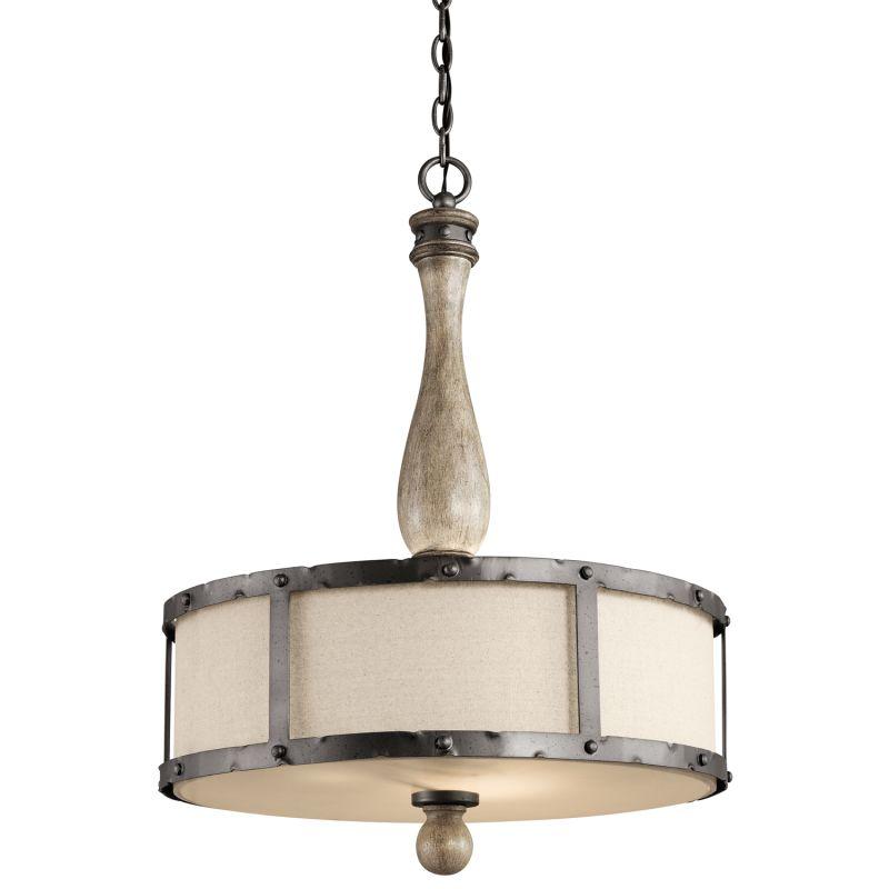 Kichler 43323DAG Distressed Antique Gray Evan 5 Bulb Indoor Pendant With Drum