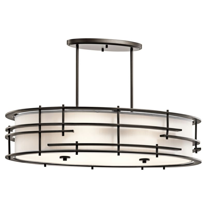 Kichler 43370 Tremba 6-Bulb Indoor Chandelier with Oval Fabric Shade