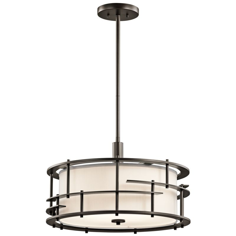Kichler 43373 Tremba 4-Bulb Indoor Pendant with Round Fabric Shade