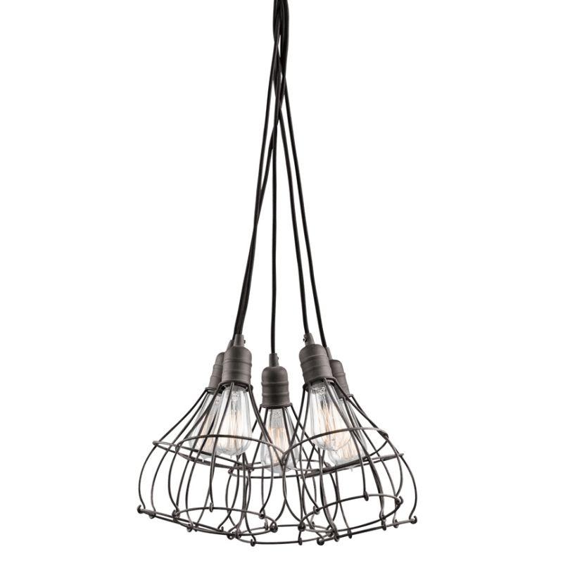 Kichler 43601 Industrial Cage 5-Bulb Indoor Pendant Weathered Zinc Sale $338.00 ITEM: bci2488691 ID#:43601WZC UPC: 783927438063 :