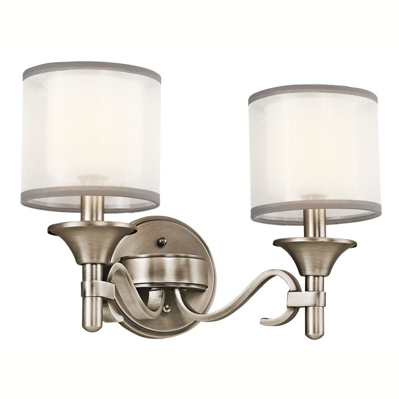 "Kichler 45282 Lacey 14"" Wide 2-Bulb Bathroom Lighting Fixture Antique"