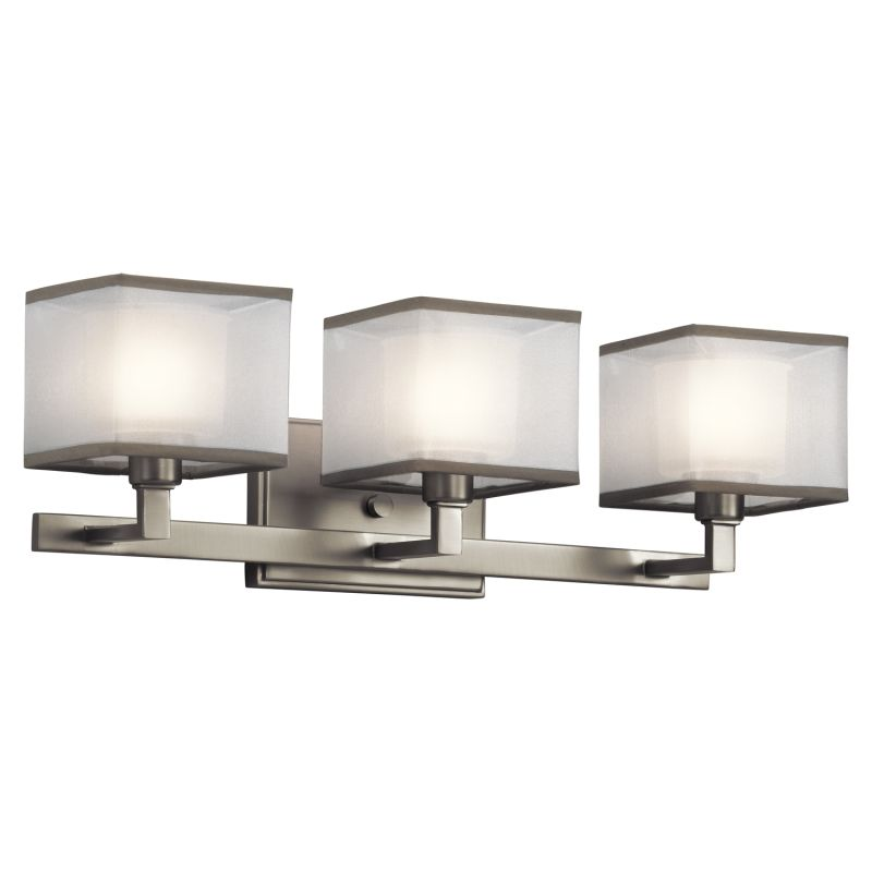 kichler bathroom light fixtures kichler 45439ni brushed nickel kailey 22 quot wide 3 bulb 18958