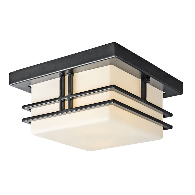 Kichler 49206BK Black Painted Modern Two Light Outdoor Flush Mount Ceiling