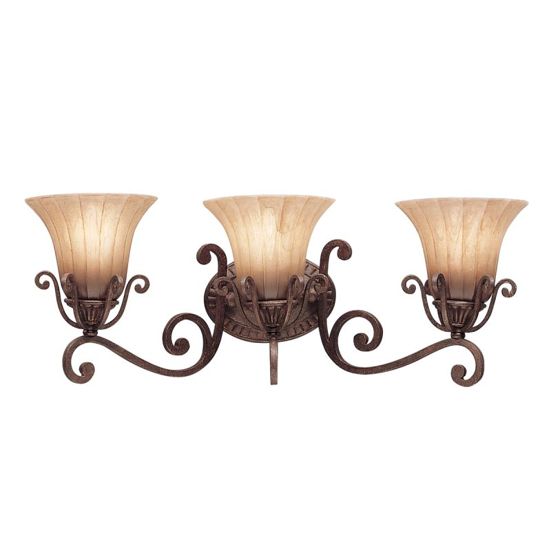 Kichler 5057cz Carre Bronze Cottage Grove 26 Wide 3 Bulb Bathroom Lighting Fixture