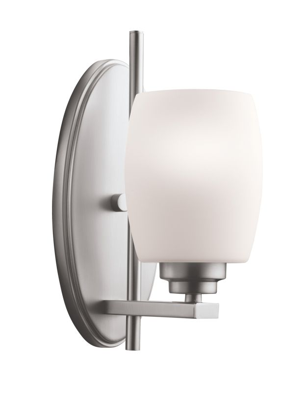 Kichler 5096ni Brushed Nickel Eileen 4 5 Wide Single Bulb Bathroom Lighting Fixture