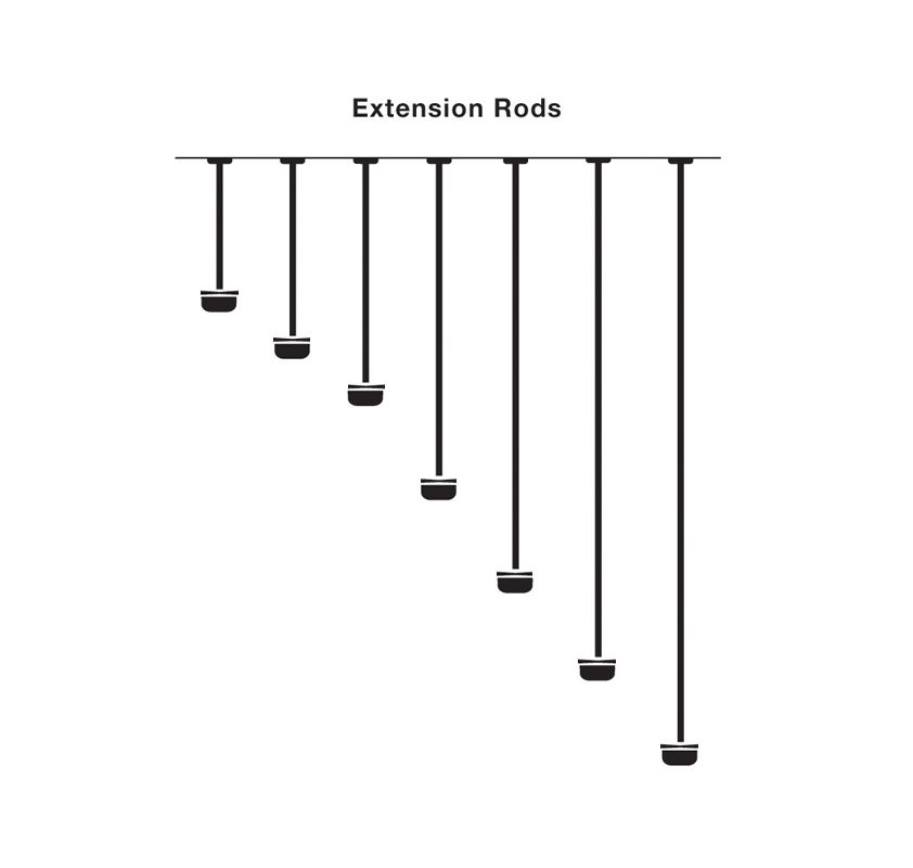 Kichler 4934 Extension Rod Brushed Nickel Accessory Extension Rods