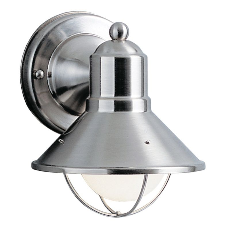 "Kichler 9021 Seaside Single Light 7"" Tall Outdoor Wall Sconce Brushed"