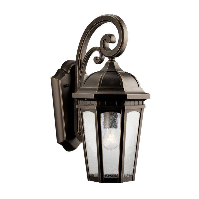 """Kichler 9033 Courtyard Single Light 18"""" Tall Outdoor Wall Sconce with"""