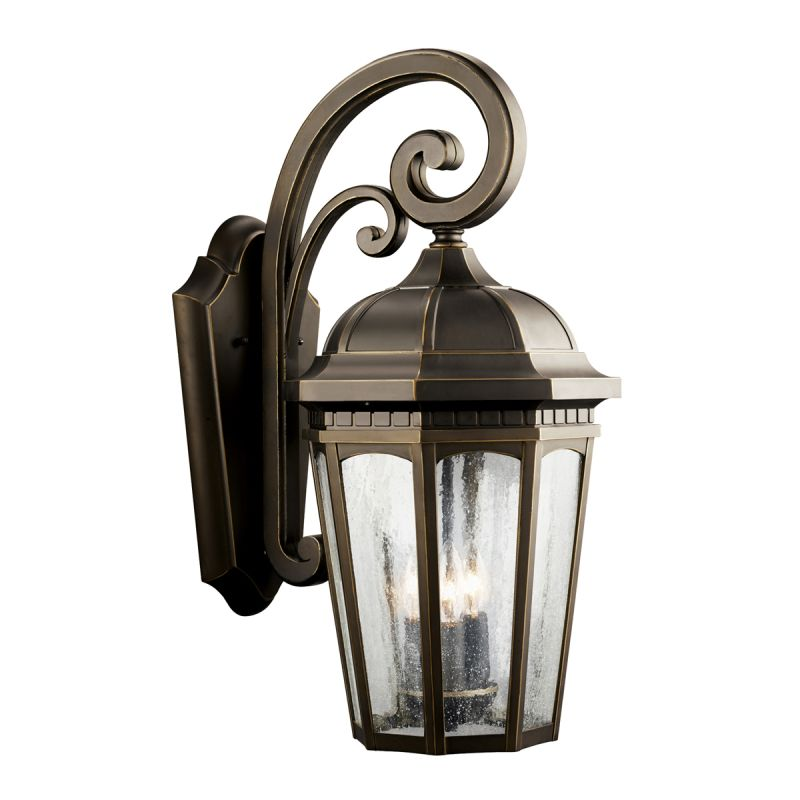 """Kichler 9034 Courtyard 3 Light 22"""" Wide Outdoor Wall Sconce with Seedy"""