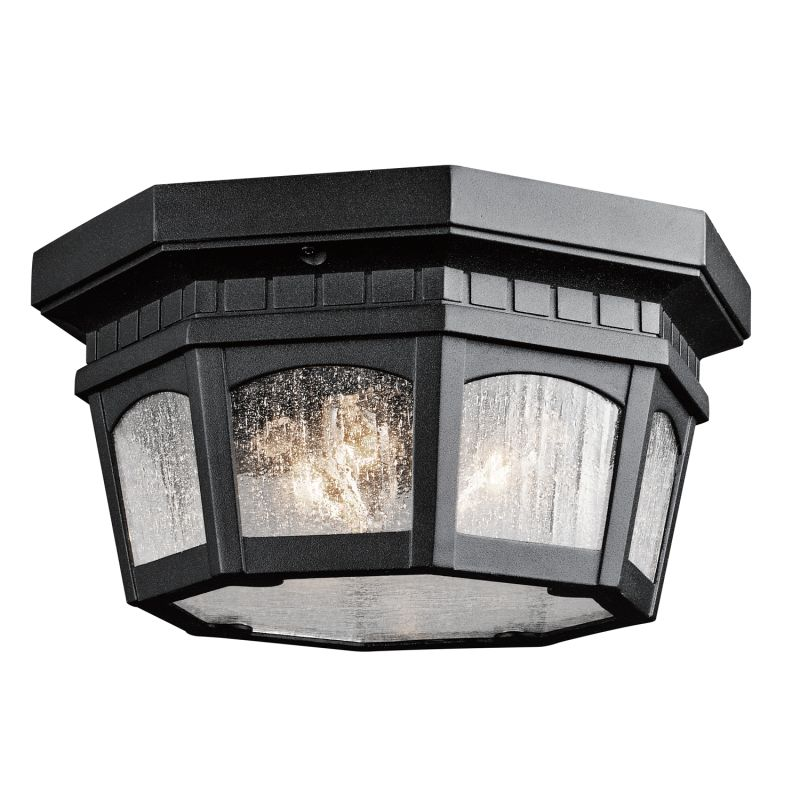 Kichler 9538BKT Black Weatherly 3 Light Outdoor Flush Mount Ceiling Fixture