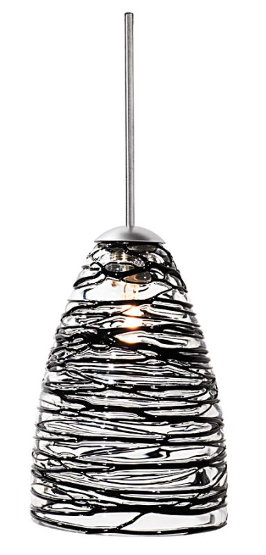 "LBL Lighting Flow Single Light Cone-Shaped Mini Pendant for Sale $162.00 ITEM: bci1085982 ID#:HS377BL Transparent blown glass cone with black or amber strands of colored glass. Includes specified low-voltage lamp and 8' of field-cuttable suspension cable. Mounting options: Fusion Jack - Includes a Fusion Jack (FSJ) compatible connector, and no transformer. For use with LBL Fusion Jack systems. Monopoint - A monopoint canopy (MPT), with internal transformer, will be included, creating a self-contained, fully-functional light. Monorail - Includes a Single-Circuit Monorail (MRL) connector, and no transformer. For use with LBL Single-Circuit Monorail Systems. Two-Circuit Rail - Includes a Two-Circuit Monorail (MR2) connector, and no transformer. For use with LBL Two-Circuit Monorail Systems. Color options: Amber, Black Finish options: Bronze, Satin Nickel Glass Size: W 3.5"", H 5"" Bulb Information: Requires 1 50w MR16 base Halogen bulb (included) 24 Volt Transformer: Custom order, please call customer service :"