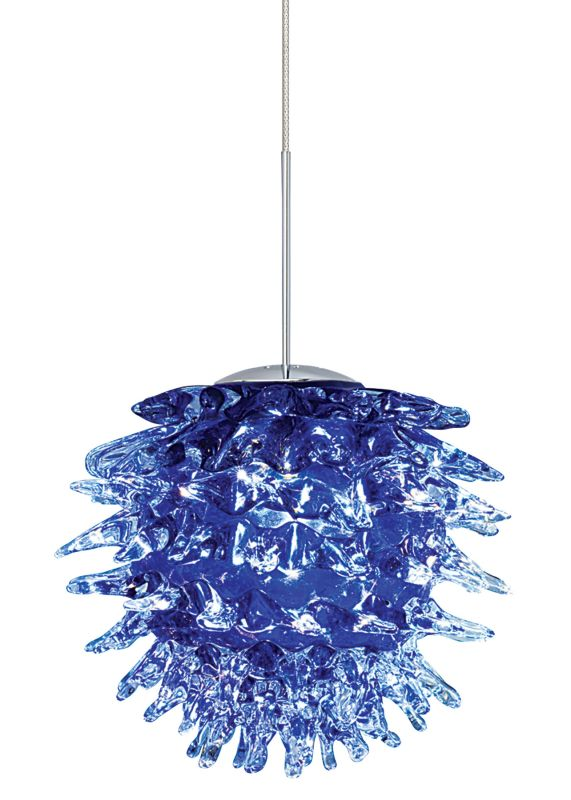 LBL Lighting Ooni Blue 1 Light Ooni Monopoint Pendant Satin Nickel