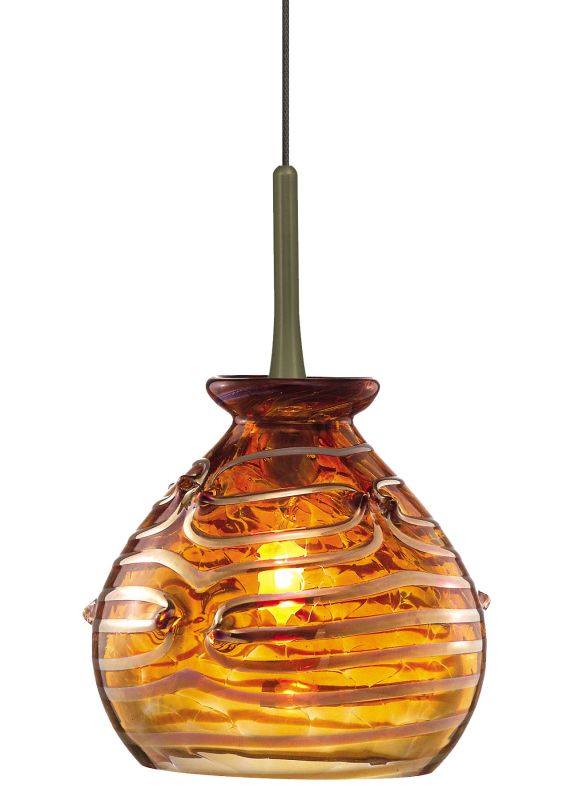 LBL Lighting Gelato Amber Fusion Jack 1 Light Track Pendant Satin