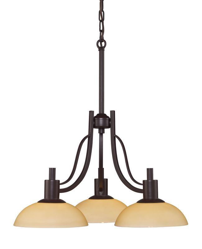 Landmark Lighting 61047 Vernon 3 Light Chandelier In Oiled Bronze From