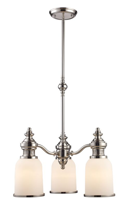 Landmark Lighting 66116 Chadwick 3 Light Chandelier In Polished Nickel