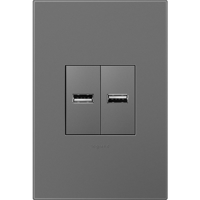Legrand AKT0017 Adorne USB Outlets with Magnesium 1-Gang Wall Plate