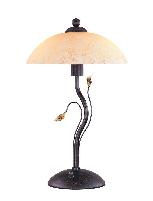 Lite Source C4919 3 Light Table Lamp with Amber Glass Shade from the