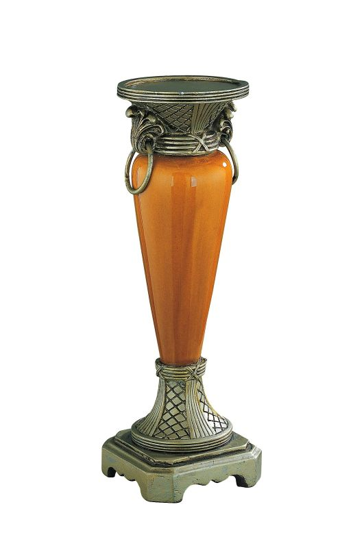 Lite Source C4993 Candle Holder Antique Gold with Ceramic Body from