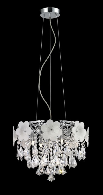Lite Source EL-10112 Daisy II 6 Light Pendant with Crystal Accents