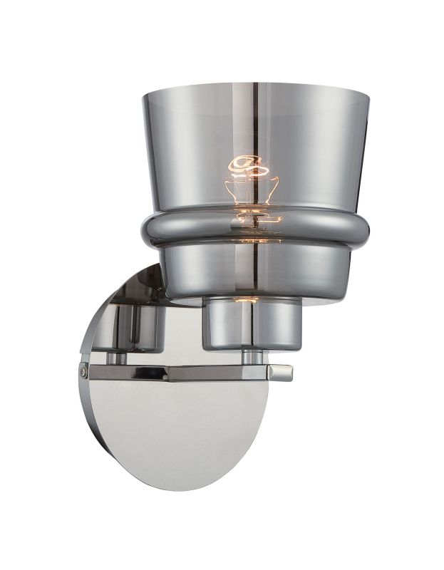 Lite Source LS-16140 Sparta 1 Light Wall Sconce with Smoke Mirrored