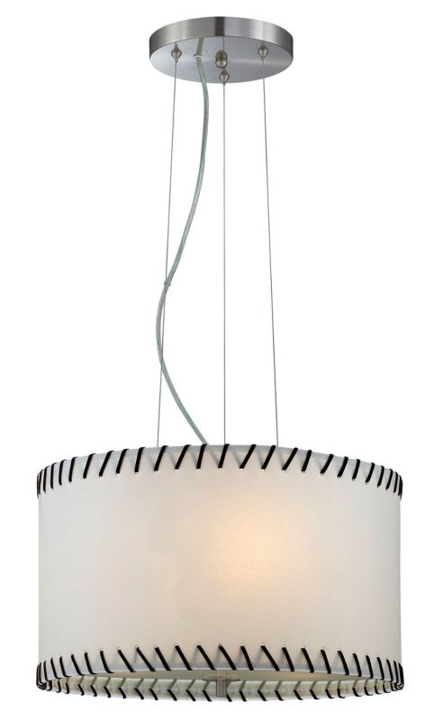 Lite Source LS-18858 Lavina 3 Light Drum Pendant Polished Steel Indoor