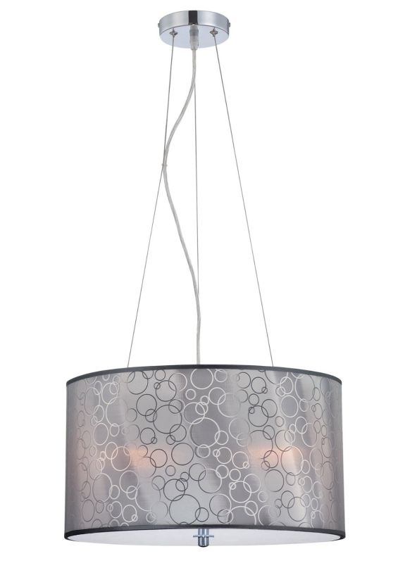 Lite Source LS-19842 Lola ll 3 Light Drum Pendant Chrome Indoor
