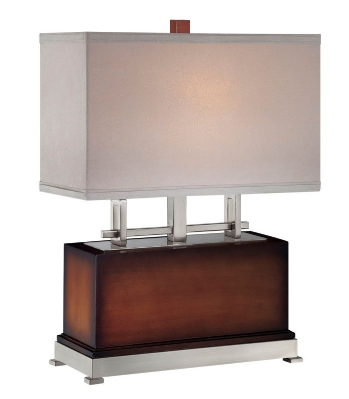 Lite Source LS-21638 Frazer 1 Light Table Lamp Polished Steel / Walnut