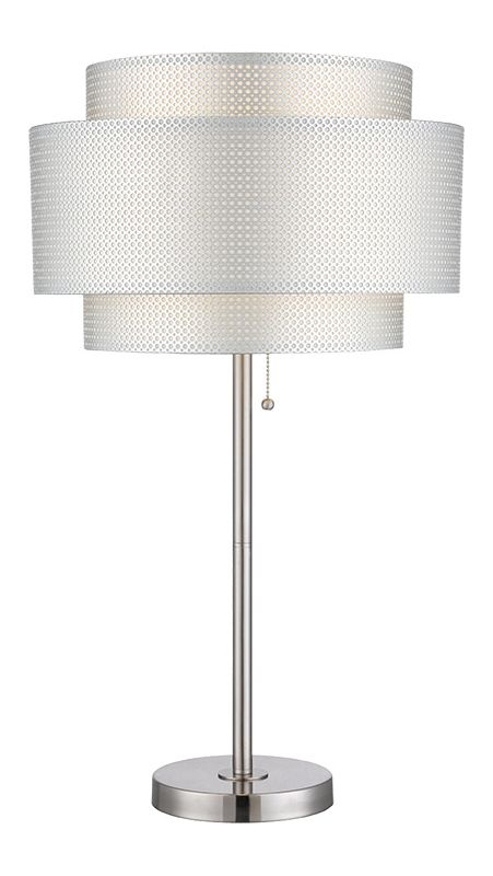 Lite Source LS-22305 Sebille 1 Light Table Lamp with Silver Mesh Paper