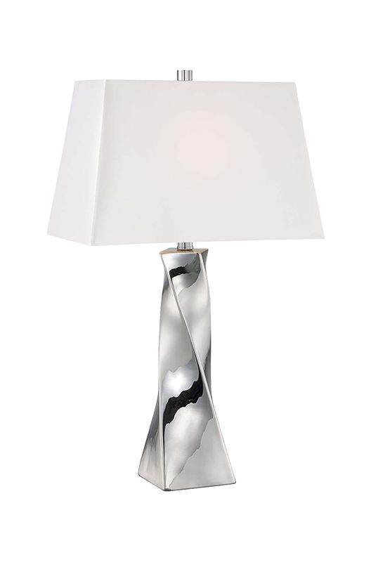 Lite Source LS-22517 Twila 1 Light Table Lamp with Silver Faux Silk