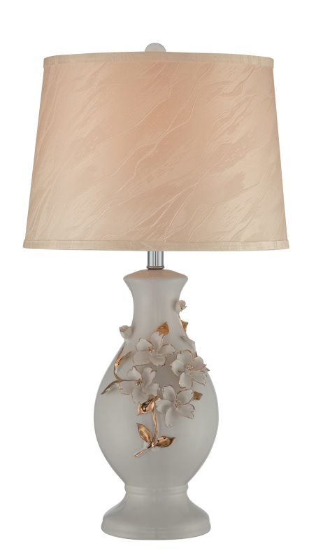 Lite Source LS-21907 Florissa 1 Light Table Lamp Ivory / Silk Lamps