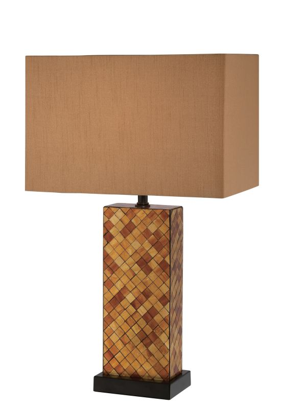 Lite Source LS-22014 Shelette 1 Light Table Lamp Amber Mosaic / Tan
