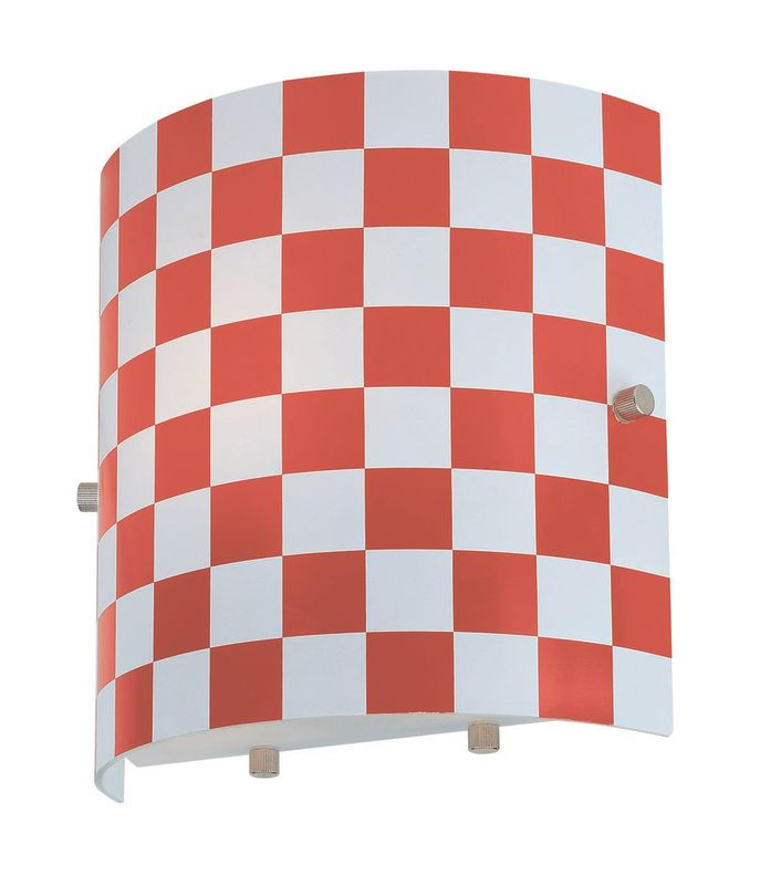Lite Source LS-16845RED 1 Light Wall Lamp with Red Check Glass Shade Sale $36.00 ITEM: bci1347076 ID#:LS-16845RED UPC: 88675437970 :
